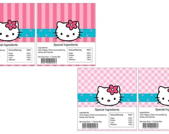 Hello Kitty Candy Bar Wrappers,Instant Download