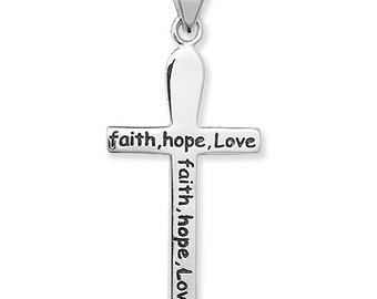 Sterling Silver Faith Hope Love Cross
