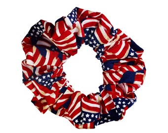 American Flag Patriotic Scrunchies Ponytail Holder (Free Shipping) Hair Accessories Made in USA