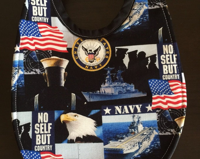 Baby Bib United States Navy Print Fabric.  3 Sizes, 2 Fabric Styles to Choose From!!