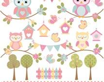 Garden owl , butterflies and trees, digital clip art set