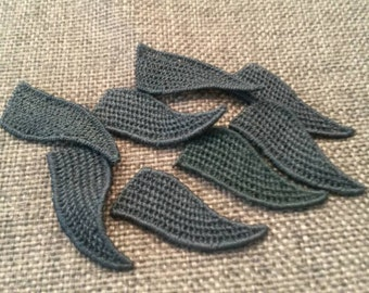 20 Pieces Small BLACK Flower Leaf Leaves Applique Flower Patch Sew On, Flower Patches, Leaf leaves Patch