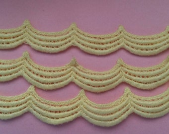 2 Yards YELLOW Polyester Braid Lace Trim 1 Inch Wide