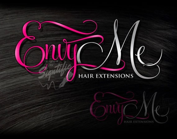 salon beauty hair extensions pink salons business logos silver calligraphy ooak pre brand signtificdesigns etsy watermark nail sold