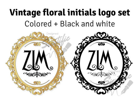 Vintage photography monogram logo set,  floral frame initials plus black and white design, custom photography wreath logo design
