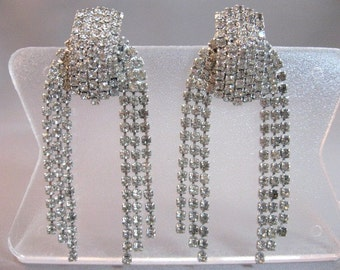 Large vintage clear rhinestone earrings silvertone metal