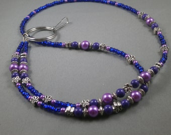 "Beaded lanyard with ID holder ,lanyard with keychain holder 32"" to 42"" long lanyard with ID clip or keychain holder ,beaded chain lanyard"