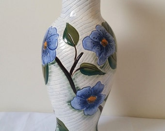Vintage white blue glazed hand made pottery flower vase with floral pattern shabby chic provincial style