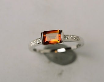 natural citrine ring silver ring emerald cut ring promise ring engagement ring anniversary gift for her