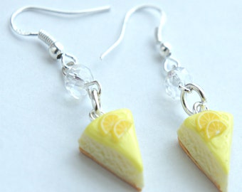 lemon cheesecake earrings- miniature food jewelry, cake earrings, lemon cake