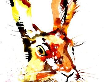 Watercolor Painting Print - 'RABBIT ' - Fall home decor and wall art -Art Print