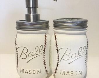 Christmas Gift Him. Baseball Bathroom Mason Jars Soap Dispenser and Toothbrush holder. Valentines Day Gift Him.