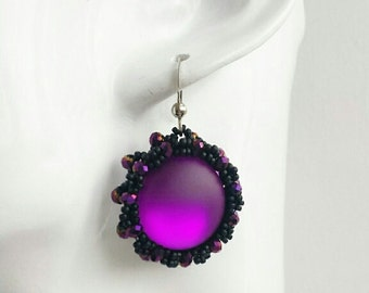 Bead embroidery earrings, cabochon earrings, beaded earrings, purple black, with silver plated earring hooks, handmade jewellery.