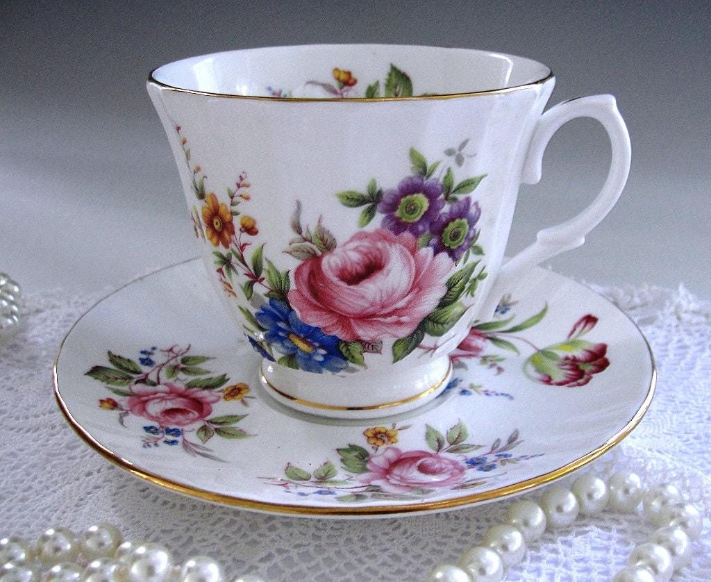 vintage duchess tea cup and saucer fancy floral teacup set. Black Bedroom Furniture Sets. Home Design Ideas