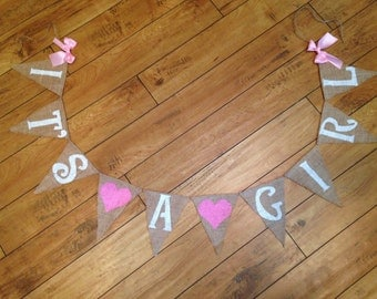 Its a Girl Burlap Banner