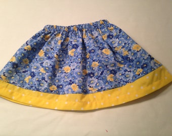 Baby Girl Skirt, BirthdayGift, Spring Blue & Yellow Polka Dots Skirt, NicolasSewing, Nicolas Sewing and Embroidery, Little Girls Skirt,