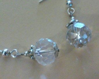 Clear crystal bead earrings, dangle earrings, bridal earrings, bridal jewelry, holiday jewelry