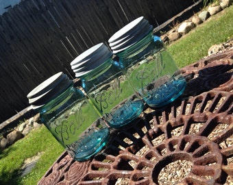 Pint Size BLUE Glass BALL Mason Jar Set of 3