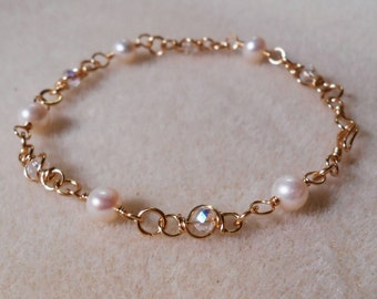 Sale! Freshwater Pear and Wire Wrapped Swarovski Crystal Bracelet