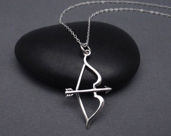 Bow and Arrow Necklace Sterling Silver 925, Archery Gift, Archery Necklace, Silver Arrow and Bow Archery Charm Pendant