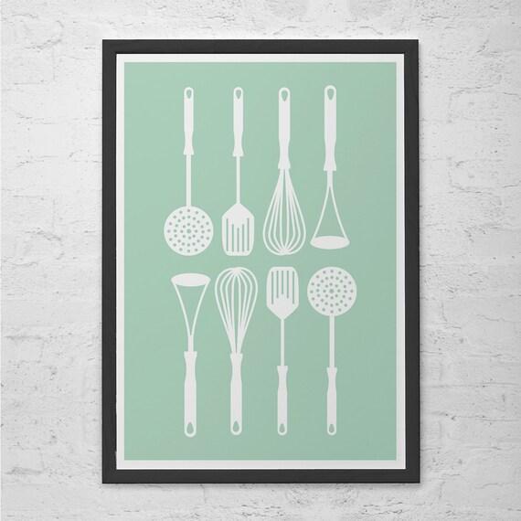 Kitchen Utensils Poster Retro Kitchen Art Poster Minimalist