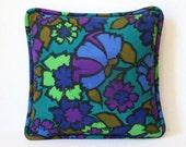 Vintage Mod Flower Teal Accent Pillow MCM 1960's Home Decor