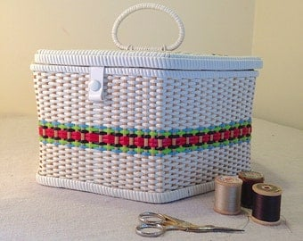 Vintage 1960s Retro Sewing Basket Rare Hexagon Shape