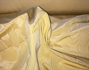 Custard yellow moire vintage gros grain ribbon fabric, made in France, 36 inches wide