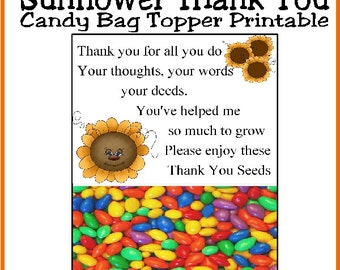 Thank You Sunflower Candy Bag Topper Printable from a SINGLE Person