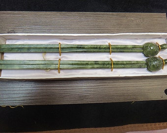 Natural stone material / Chinese jade chopsticks two pairs of