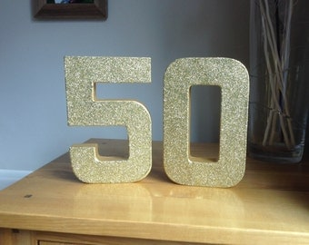 Gold Glitter 50, Paper Mâché Numbers, 50th Birthday Party Decor