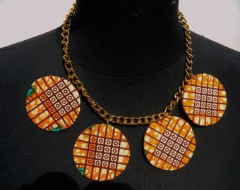 African Print Gold Chain Statement Necklace ***( Make me an offer for this item)***