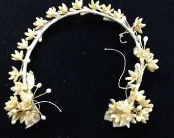 Antique Victorian Bridal Wax Flower Crown