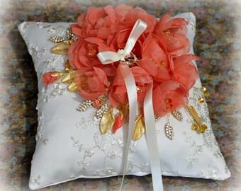 Wedding ring pillow - Wedding ring bearer - Ring pillow bearer - Silk ring pillow-Coral Ring Pillow