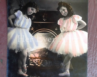 Little Ballerinas at the Fireplace // Antique NPG RPPC postcard of sweet little girls in ballet shoes & stripes // Vintage tinted photo