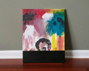 Abstract Painting Modern Painting - Original Colorful Abstract Art In Acrylic On Canvas 20x16 inches