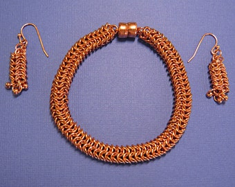 copper roundmaille chainmaille bracelet and earring set