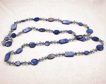 Free shipping,Blue shell,crystal long necklace,metal,vintage,bangle,personalized,wholesale(XL68)