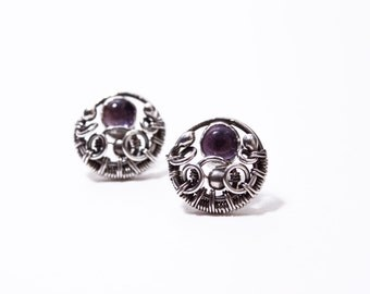 Aerdrie - handmade fine and sterling silver wire wrapped earstuds, earings with light purple amethyst cabochon, wire wrapping