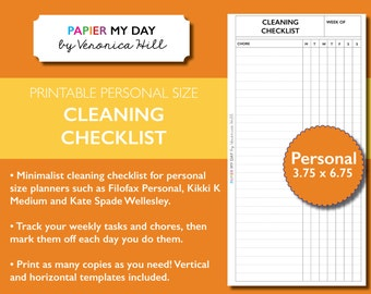 Personal Filofax Cleaning List - Printable Cleaning List for Kikki K Medium and Filofax Personal Planners