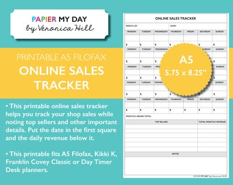 A5 Filofax Online Sales Tracker - Printable Monthly Etsy Sales Tracker - Fits Kikki K Large/Personal and Filofax A5 planners