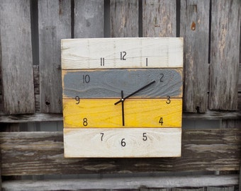Rustic Pallet Clock, Shabby Chic Clock, Primitive Wood Clock, Wood Wall Clock, Yellow and Grey Clock, Rustic Clock, Primitive Clock
