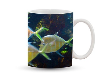 Beautiful Fish Mug 11 oz Ceramic Photo Coffee Cup, Colorful Iridescent Yellow Wildlife Aquarium Cape Cod Blue Water Ocean Summer Nautical