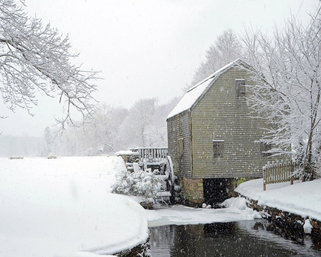 Dexter Grist Mill In Snow Fine Art Photography Wall Photo