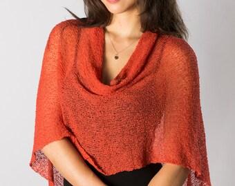 Tangerine Orange # 111 Infinity Bali Poncho Sweater, womens lightweight poncho, womens resort wear, Knit poncho cape, Women Knit Mesh Poncho