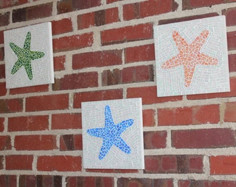 Mosaic Wall Art - Starfish trio