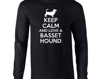 Keep Calm And Love A Basset Hound Mens Long Sleeve T-Shirt Funny Dog Keep Calm Tee