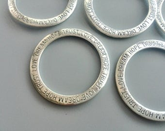 5/10/20 Pcs Hope Love Dream Trust Rings Antique Silver Plated Tibetan style linking rings with the words 35mm 224