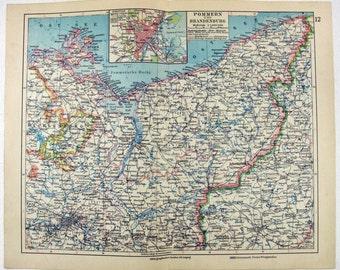 Original 1931 German Language Map of Pomerania & Brandenburg Germany
