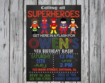 SUPERHERO INVITATION, Superheroes invitation, super hero birthday, digital, printed, printable
